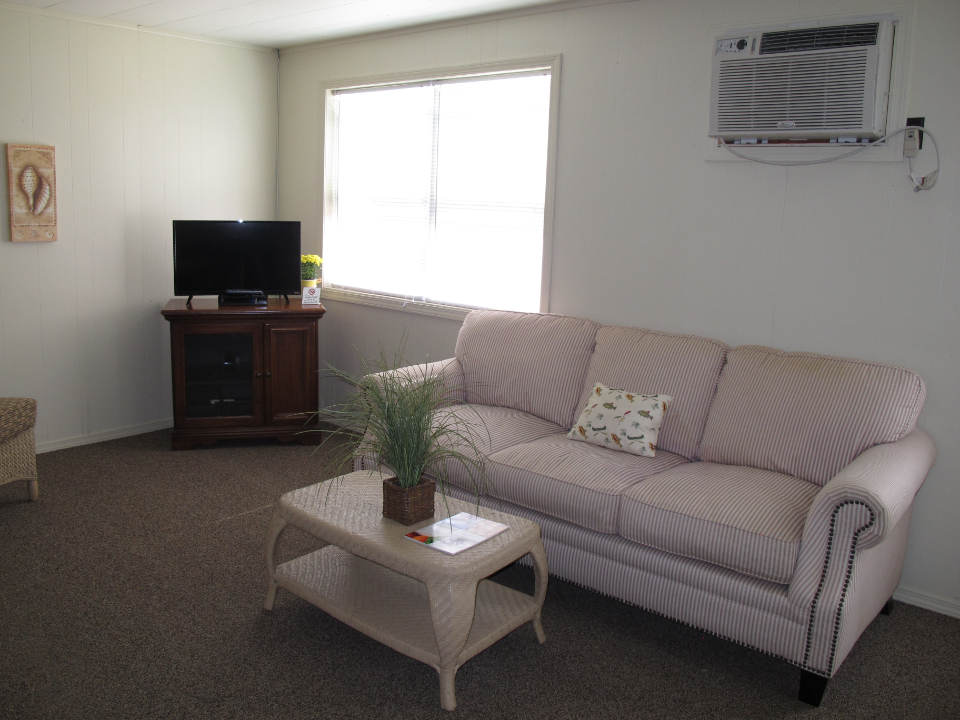 Newly remodeled cottage living room with new furniture