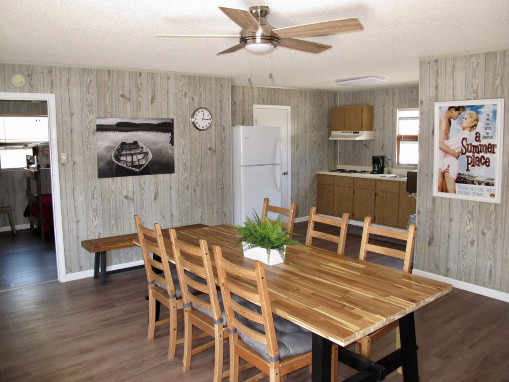 Cottage dining room and kitchen newly remodeled at Little Ted's Cottages